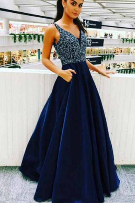 Navy Blue Satin Prom Dress,V Neck Prom Dress,Beaded Prom Dress,Long A-line Prom Dress,Women Prom Dress,Charming Prom Dress,Sexy Party Dress,Long Evening Dress,Fashion Prom Dress, Long Party Dress