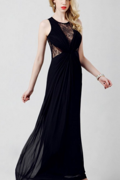 Elegant Chiffon Long Black Lace Simple Prom Dresses