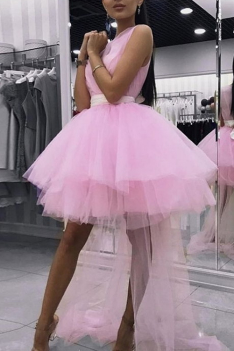A-Line V-neck Sleeveless Short Pink Detachable Homecoming Dress