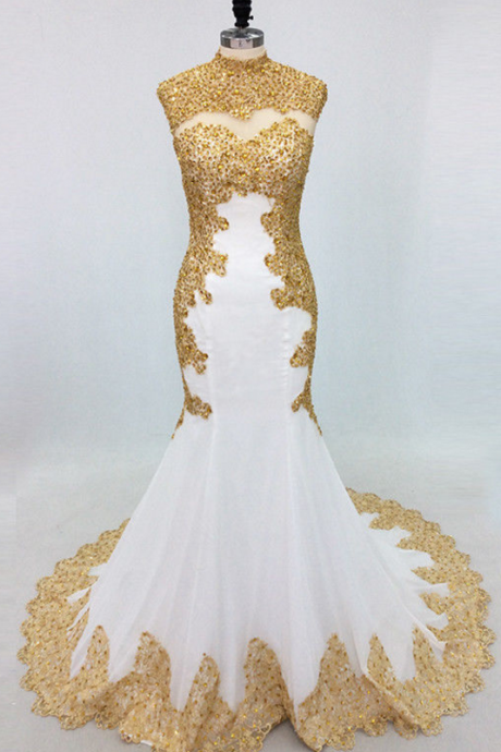 Sexy Long Evening Prom Dress Mermaid Beading Crystal Gold Embroidery White