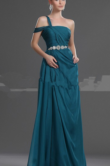 A LINE ONE SHOULDER CHIFFON EVENING DRESS WITH JEWELED WAIST