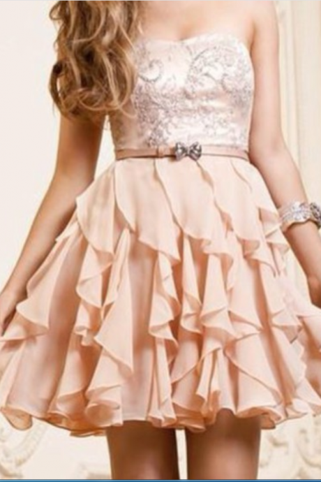 Homecoming Dresses,Strapless Short Homecoming Dress,Ruffles Homecoming Dresses