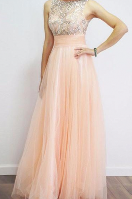 Charming Pink A-line Tulle Prom Dress,Evening Dresses ,Formal Gowns,Banquet Dress,Party Gowns