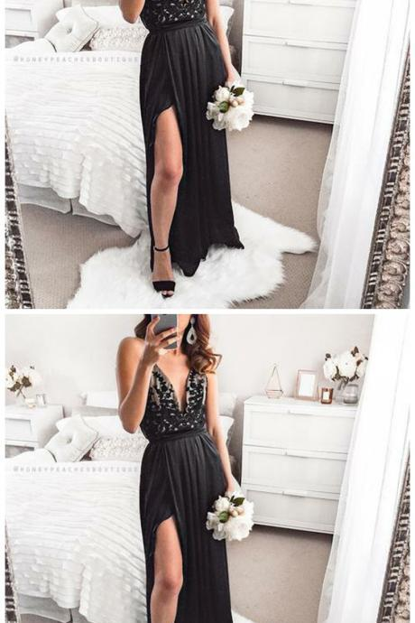 A-Line Spaghetti Straps Floor-Length Black Stretch Satin Prom Dress with Appliques