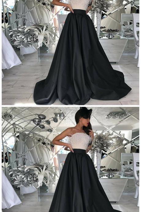 A-Line Strapless Sweep Train Black Prom Dress With Beading Feathers