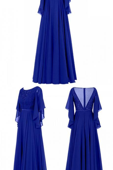 Gorgeous A-line Scoop 1/2 Sleeves Floor Length Chiffon Mother of the Bride Dress