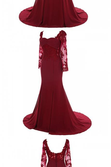 Elegant Mermaid Sweetheart Burgundy Satin Mother Of the Bride Dress with Lace Appliques