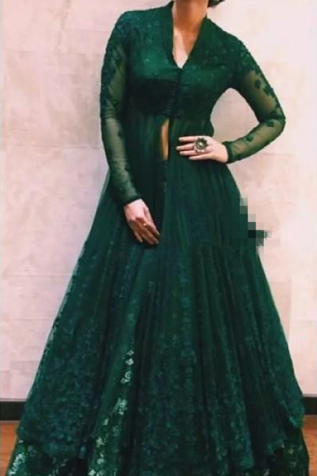 Hunter Green Formal Dresses Evening Wear With Long Sleeves Beaded Lace Kaftan Abaya Dubai Indian V Neck Prom Dress Kriti Sanon in Anju