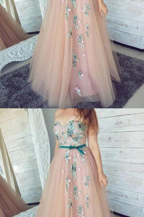 Pink Sweetheart Neck Tulle Lace Applique Long Prom Dress,Pink Evening Dress