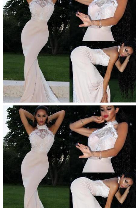 Elegant Sleeveless Mermaid Prom Dresses,Evening Party Gowns ,Lace Satin Halter High Neck Floor Length Prom Dress