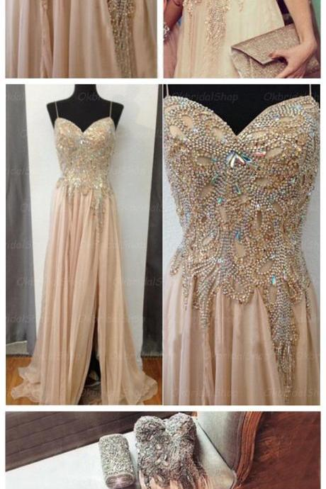 beaded prom dress, champagne prom dress, long prom dress, prom dress , cheap prom dress,