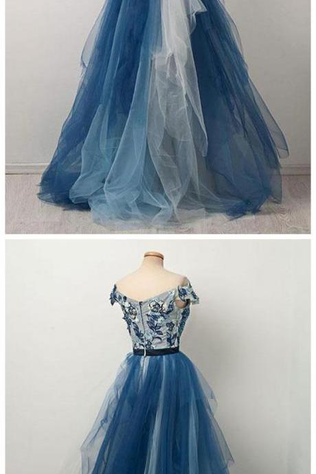 Stylish A-Line Off-The-Shoulder Tulle Long Prom Dress With Appliques,Cheap Prom Dress,Formal Dress,