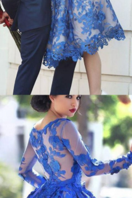 Short Homecoming Dress, Royal Blue Prom Gowns, Round Neck Party Dress, Popular Cocktail Dress