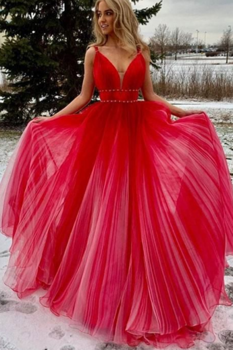 Sexy V-Neck Red Tulle Prom Dress Off Shoulder Women Party Gowns ,Cheap Evening Dress, Long Pageant Dresses