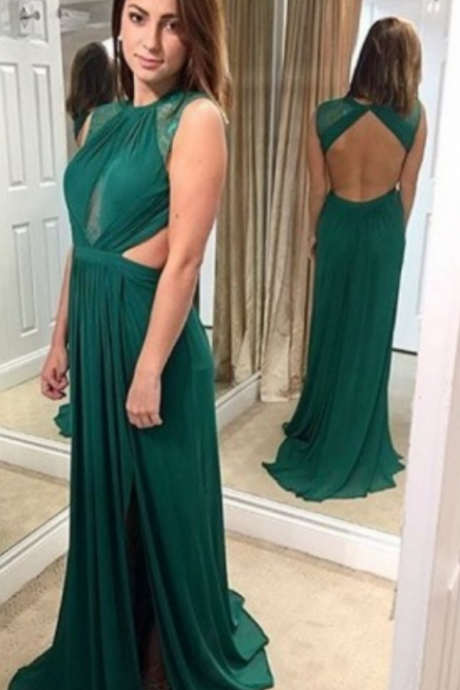 New Charming Sexy Chiffon Evening Dress,Backless Evening Dress,Long Prom Dress,Formal Dress, Sleeveless Prom Dresses, Backless