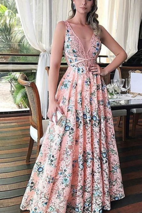 Beautiful Prom Dresses A-line Straps Lace Long Chic Pink Prom Dress