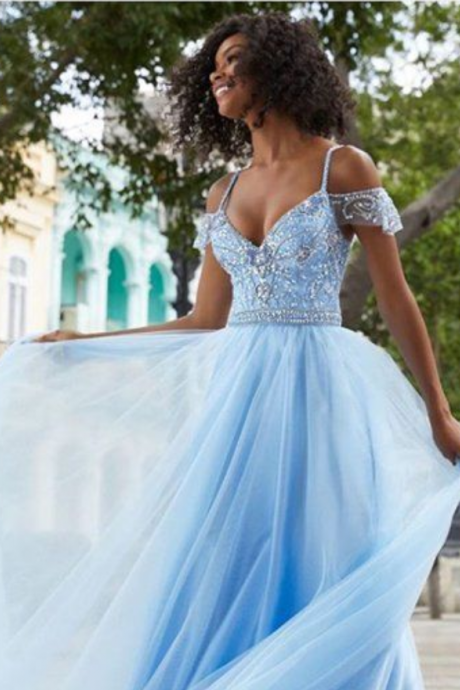 Spaghetti Straps Beaded Blue Long Prom Dresses ,Cheap Prom Dresses