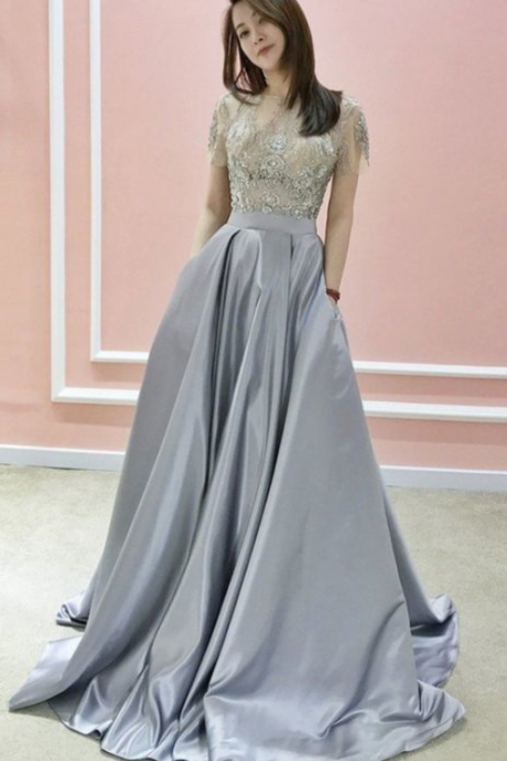 A-line Bateau Silver Prom Dresses Short Sleeve Beading Evening Dresses