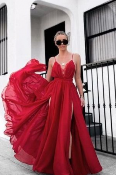 Lace Prom Dresses with Slit A Line Ankle-length Long Red Simple Prom Dress