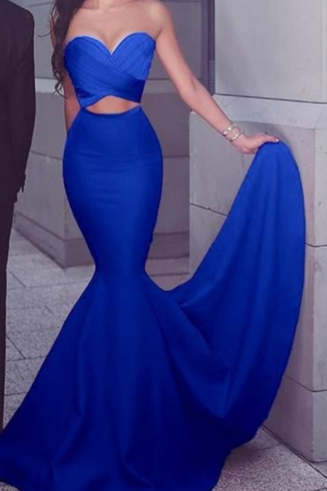 Mermaid Strapless Satin Long Prom Dress blue Formal Gown Cut out