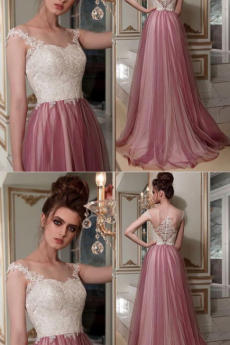 CHIC A-LINE BATEAU LACE PROM DRESSES PINK LONG PROM DRESS EVENING DRESS