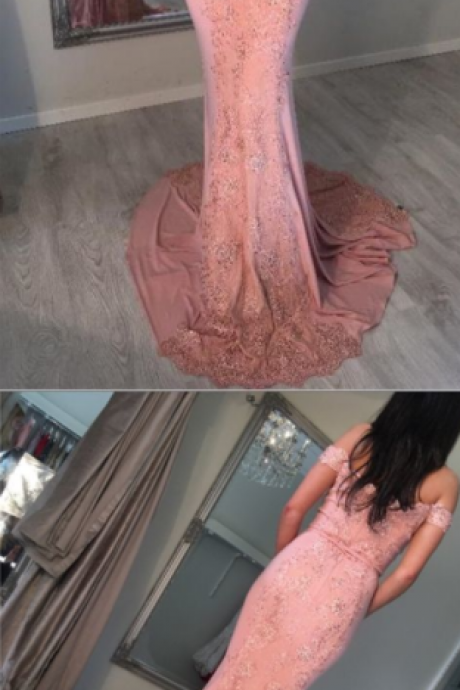 Mermaid Off-the-Shoulder Sweep Train Pink Prom Dress with Appliques Sequins