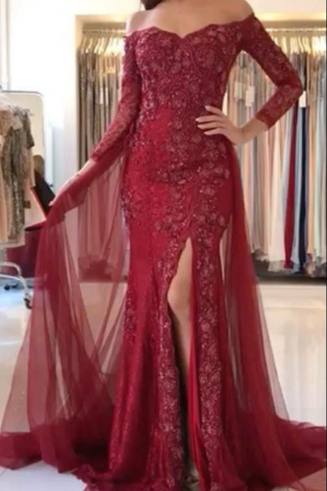 Charming Long Sleeve Mermaid Lace Evening Dress, Sexy Split Side Trumpet Formal Evening Gown, Long Prom Dresses