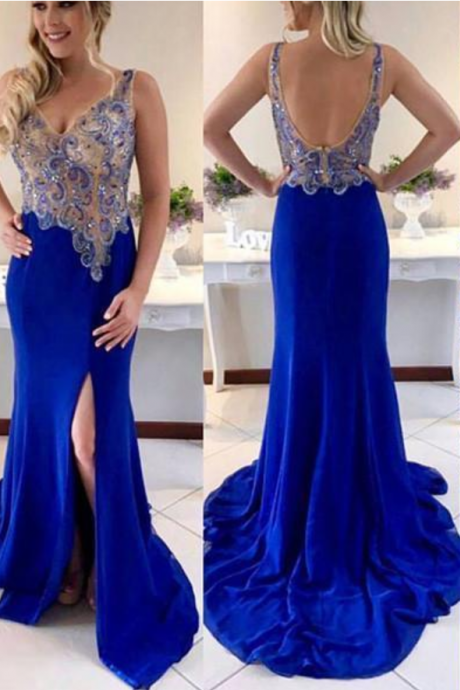 Unique v neck beaded royal blue prom dress, blue evening dress