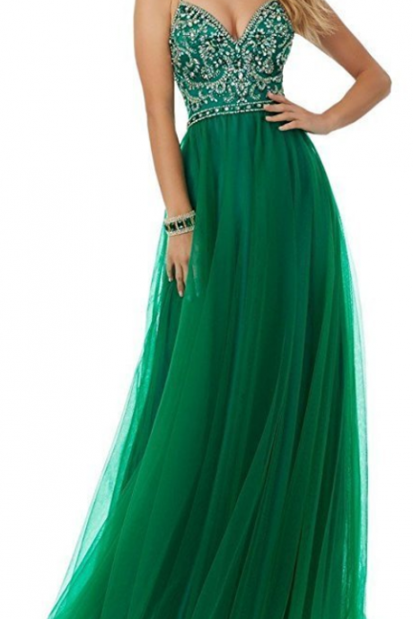 Sexy Crystal Beaded Formal Women Prom Dress Green Fashion A Line Long Prom Gowns ,Sexy Backless Women Gowns
