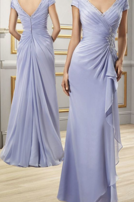 Chic Chiffon Sheath V-neck Cap Sleeves Floor-length Mother of the Bride Dresses