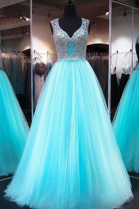 Fabulous Princess V-neck Tulle Floor-length Crystal Detailing Light Sky Blue Open Back Prom Dresses