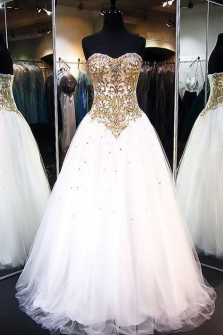 Chic Prom Dresses Sweetheart Floor-length Rhinestone Prom Dress/Evening Dress