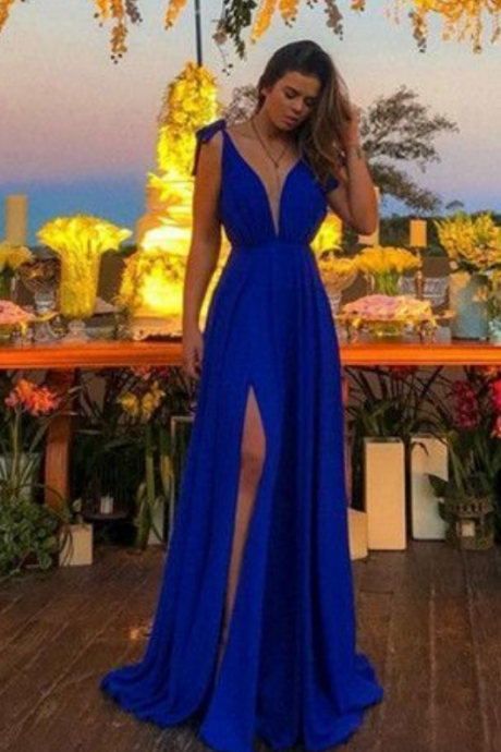A-Line Deep V-Neck Royal Blue High Split Long Prom Dresses