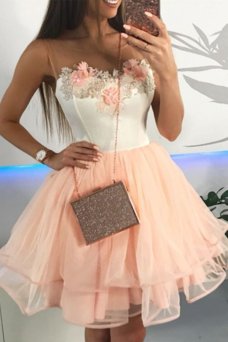 A-Line Round Neck Above-Knee Pink Homecoming Dress with Appliques