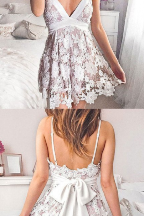 Cute v neck lace short prom dress, lace homecoming dress