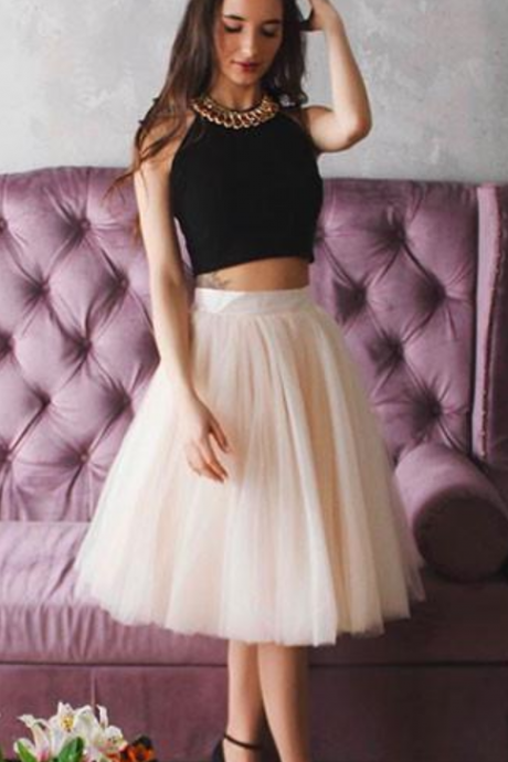 Halter Cute Two Pieces Champagne Tulle Short Prom Homecoming Dress
