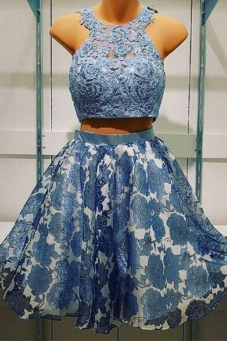 Halter Blue Two Pieces Lace Short Homecoming Prom Dress
