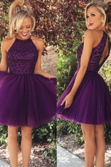 Formal Dress Prom Dress Purple O Neck Knee Length Tulle A Line Homecoming Cocktail Dress
