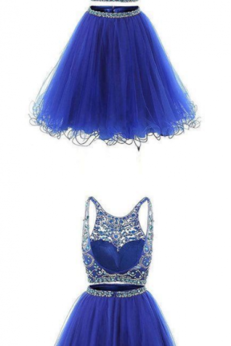 Fashion Two Pieces Royal Blue Crystal Beaded Short Prom Dress, Custom Made 2 Pieces Short Prom Gowns,Two Pieces Tulle Mini Cocktail Dress
