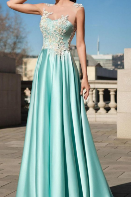 Attractive Acetate Satin Jewel Neckline A-line Prom Dress With Lace Appliques & 3D Flowers With Beadings