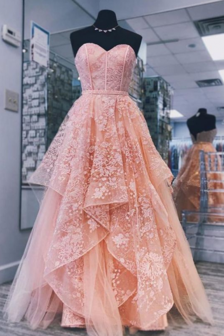 Glamorous Princess Pink sweetheart neck tulle lace long prom dress, pink evening dress