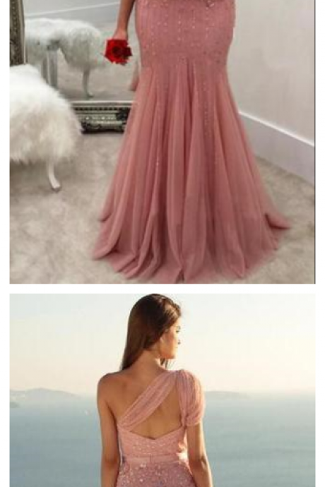 Unique Mermaid One Shoulder Tulle With Beads and Sash Prom Dresses, Evening Dress