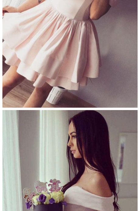 Pink Off-the-Shoulder Ruffles Satin Homecoming Dress,Party Dresses,Chic Fashion Dresses