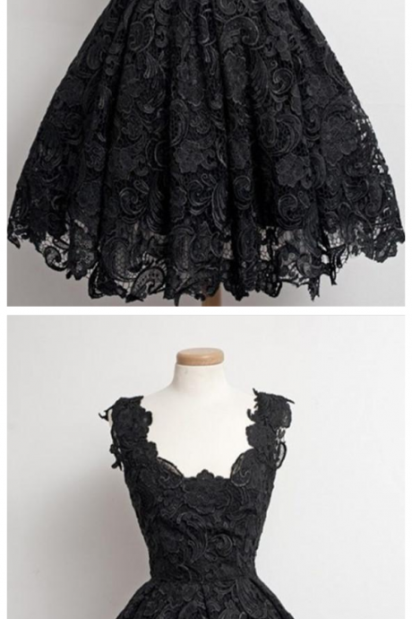 Black Lace Strap Prom Dress Homecoming Dress