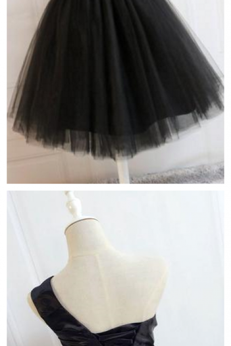 Black One Shoulder Short Prom Dress, Black Tulle Homecoming Dress