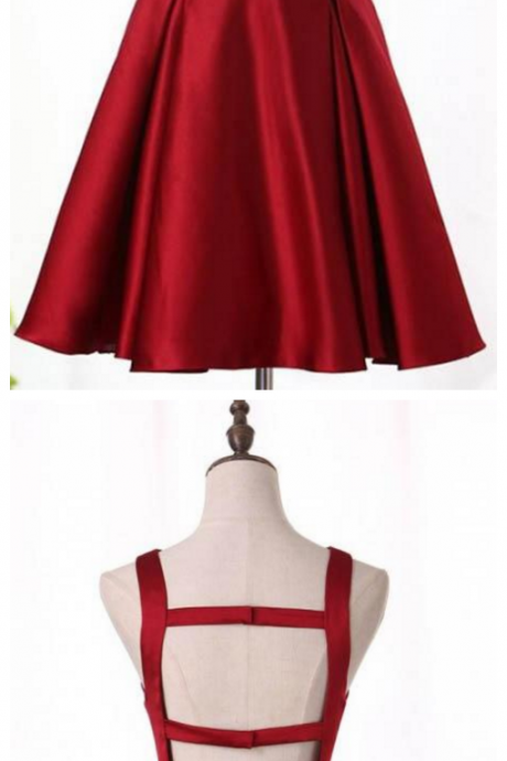 Burgundy Satin Short Homecoming Dress, A Line Short Prom Dress