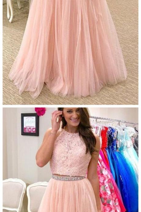 Two Piece Prom Dresses Halter A line Floor-length Pink Long Tulle Sparkly Prom Dress