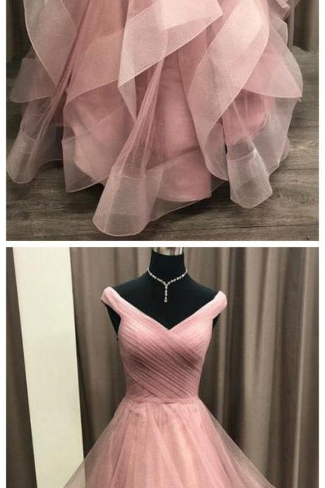 Off Shoulder Tulle Long Prom Dress, Princess Layered Evening Dress