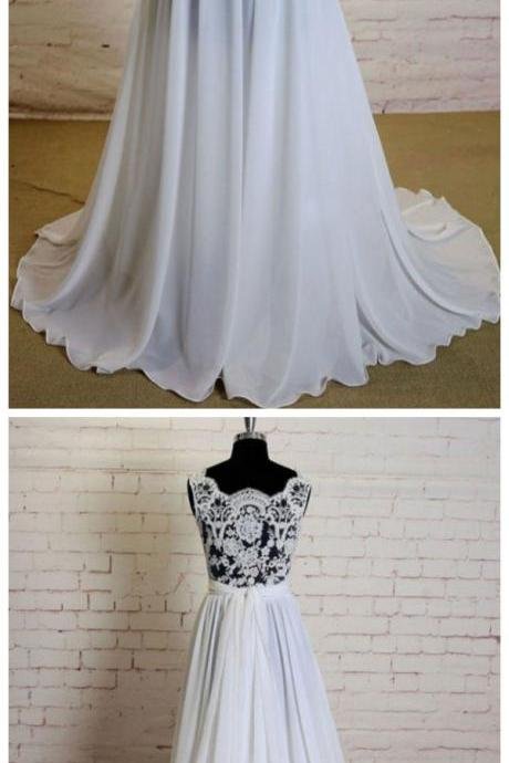 Ivory Wedding Dress, Chiffon Wedding Dress, Lace Wedding Dress