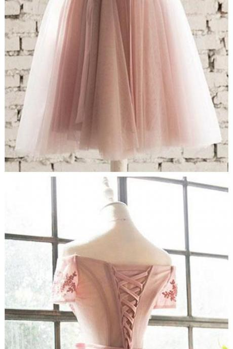 lace tulle short prom dress, homecoming dress